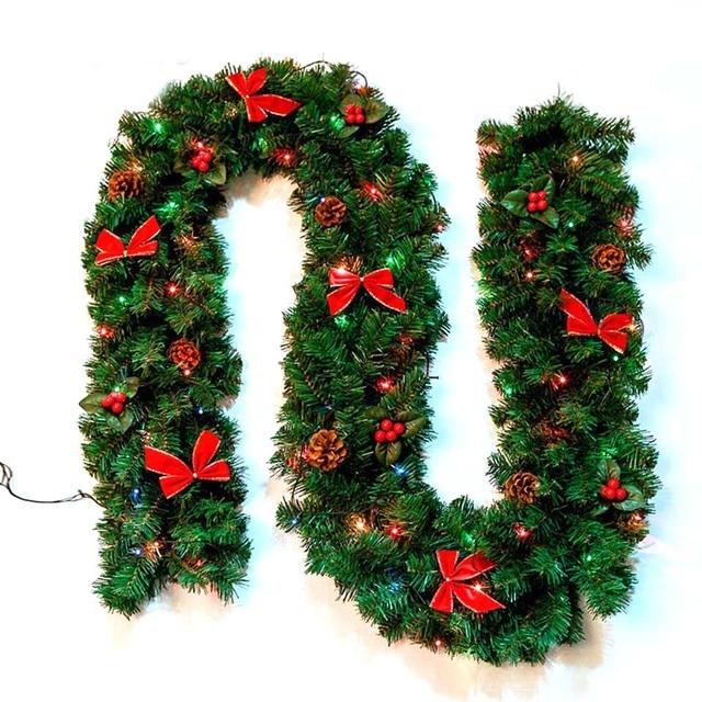 1 pcs 27m christmas garland green xmas rattan with bows and lights artificial christmas tree - Guirnalda De Navidad