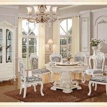 Роскошный деревянный стол и стул, белые столовые наборы, классический обеденный стол, мебель для столовой
