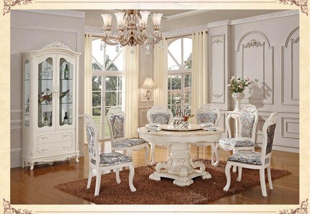 Luxe houten ding tafel en stoel wit kleur eetkamer sets