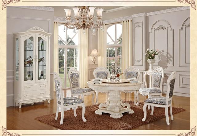 Luxe houten ding tafel en stoel, Wit kleur eetkamer sets, klassieke ...