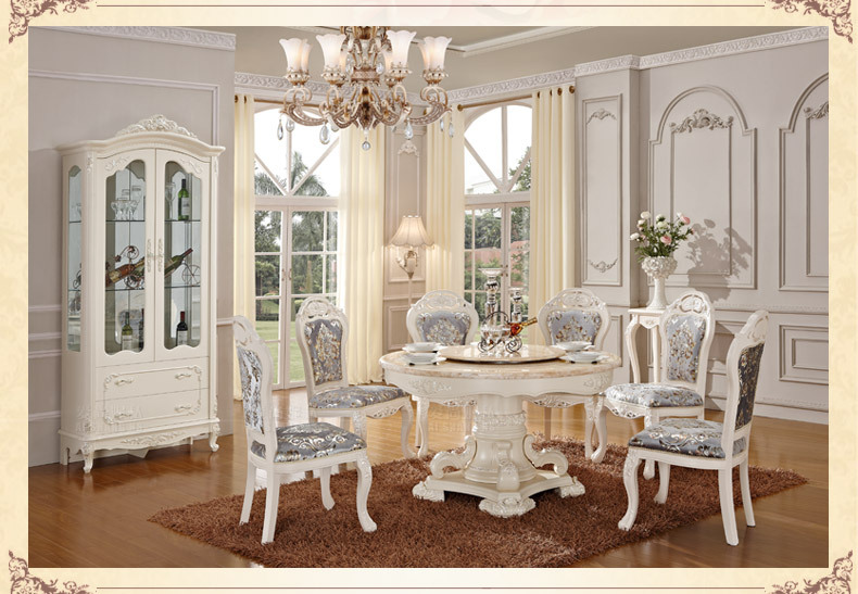 Buy luxury wooden ding table and chair white color dining sets classical Linge de table luxe
