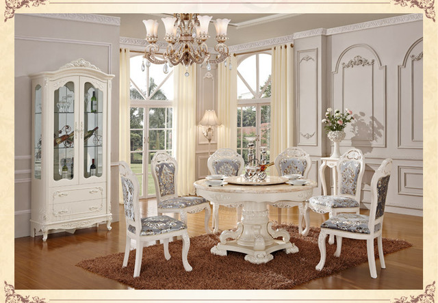 Luxury Wooden Ding Table And Chair White Color Dining Sets Clical Room Furniture