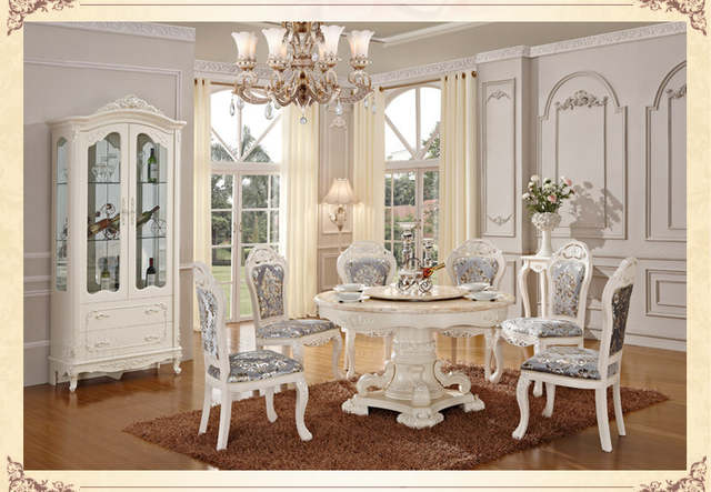 US $3280.0 |Luxury wooden ding table and chair, white color dining  sets,classical dining table dining room furniture-in Dining Room Sets from  ...