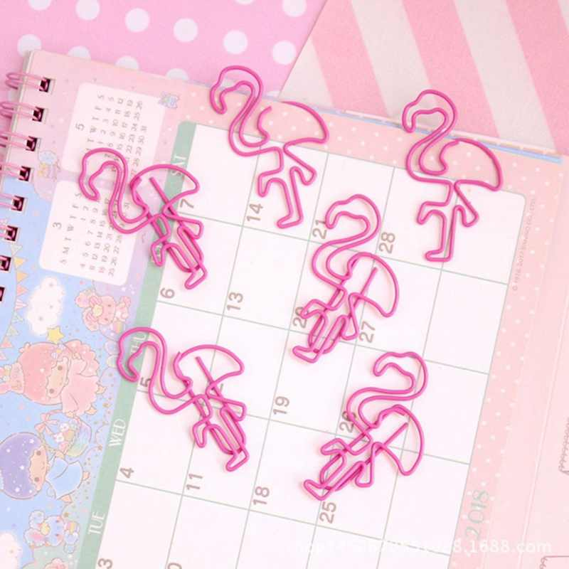 3 Pcs/lot Flamingo Bookmark Planner Paper Clip Holder Metal Material  Stationery School Office Supplies