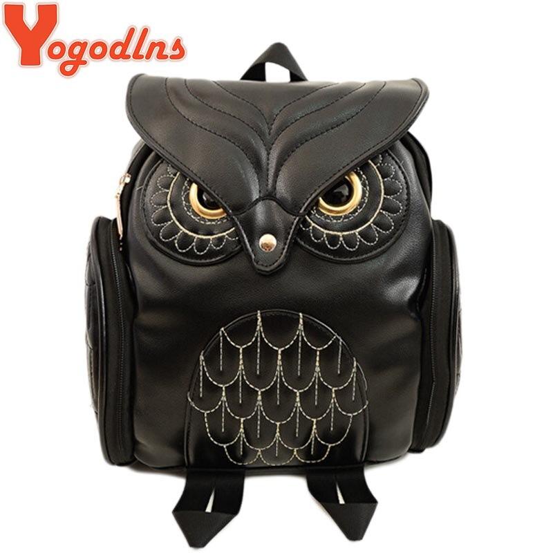 Yogodlns модные женские туфли рюкзак Новые Стильные красивые черные искусственная кожа сова рюкзак женский Лидер продаж Для женщин сумка школьные сумки
