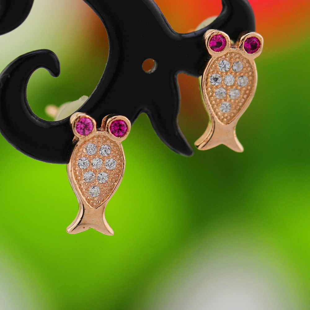 Sterling Silver Children Stud Earrings GOLD FISH