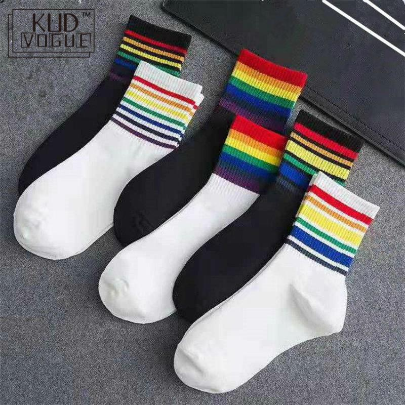 Winter New Unisex Cotton Rainbow Striped Socks Xmas Fashion Warm Chrismas Zapatillas Mujer 8446