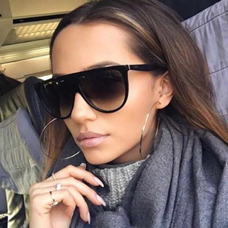 2017 Brand Designer Women Retro Flat Top Sunglasses Vintage Acetate Shaded Lens Thin Shadow Glasses Men Oculos De Sol 744M