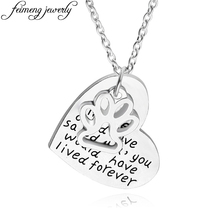 """""""if love could have saved you, you would have lived forever"""" love necklace mini dog paw charm pendant fashion statement necklace"""