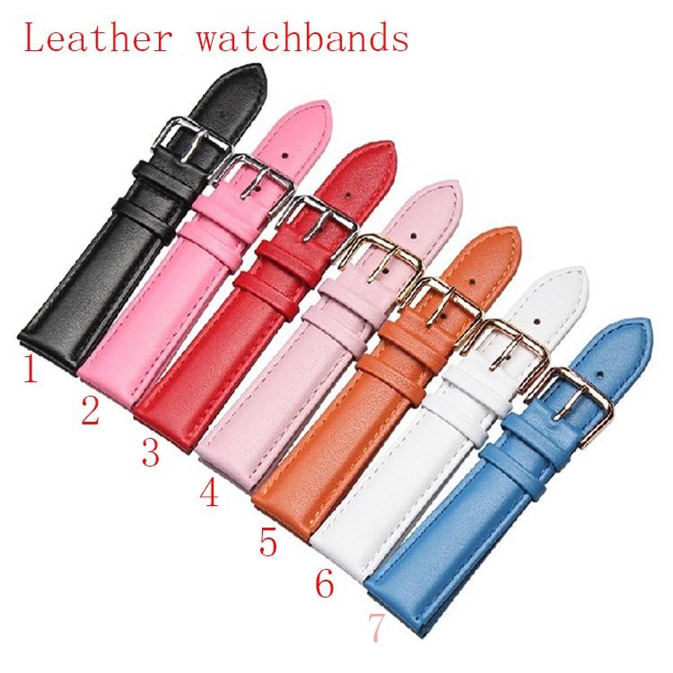 New Smooth Watchband leather Black Red Pink Orange White waterproof Quartz watches Straps Accessories Men Women 12 14 16 18 20mm все цены