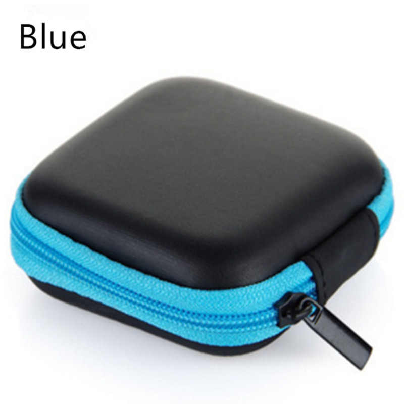 Carbon Fiber Zipper Headphones Box Earphone Earbuds Hard Case Storage Carrying Pouch Bag SD Card Hold PU Charms Boxs random 70
