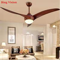 Nordic Brown Vintage Ceiling Fan With Lights Remote Dimming Control Ventilador De Techo Fan LED Light Bedroom ceiling fans