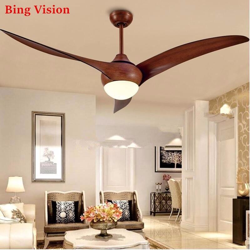 Ventilateur De plafond Vintage marron nordique avec lumières commande De gradation à distance Ventilador De Techo ventilateur lumière LED ventilateurs De plafond De chambre à coucher