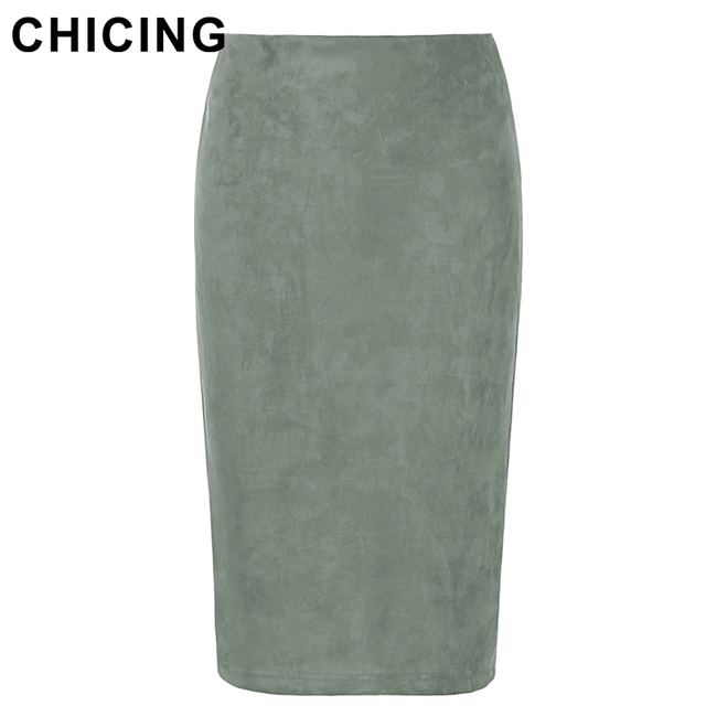 Women's Mid-Length Suede Pencil Skirt