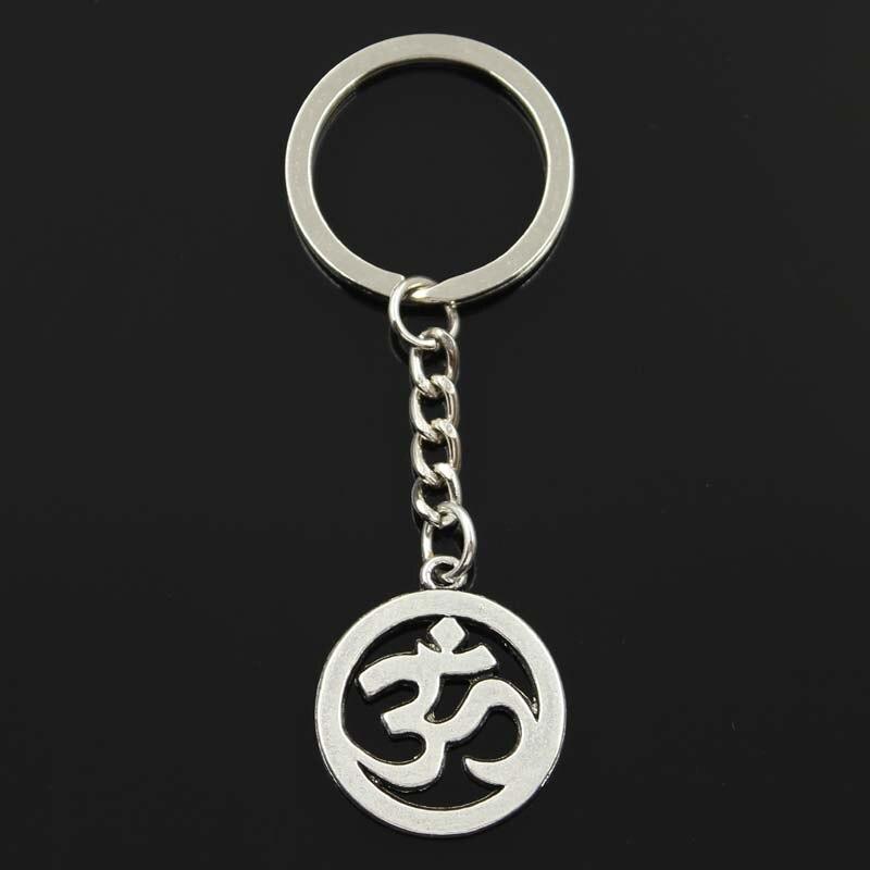 New Keychain 29x25mm Yoga OM Pendants DIY Men Car Key Chain Ring Holder Keyring Souvenir Jewelry Gift