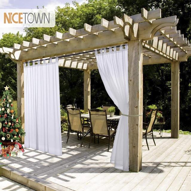 Nicetown Summer White Indoor Outdoor Curtain Panels Elegant Tab Top Waterproof Curtains For Patio Garden With Rope Tieback