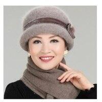 แฟชั่นใหม่ผู้หญิงฤดูหนาวหมวกชุดดอกไม้Skulliesขนสัตว์ผสมกระต่ายขนถักกลางแจ้งอบอุ่นB EaniesถุงH Eadwearห...