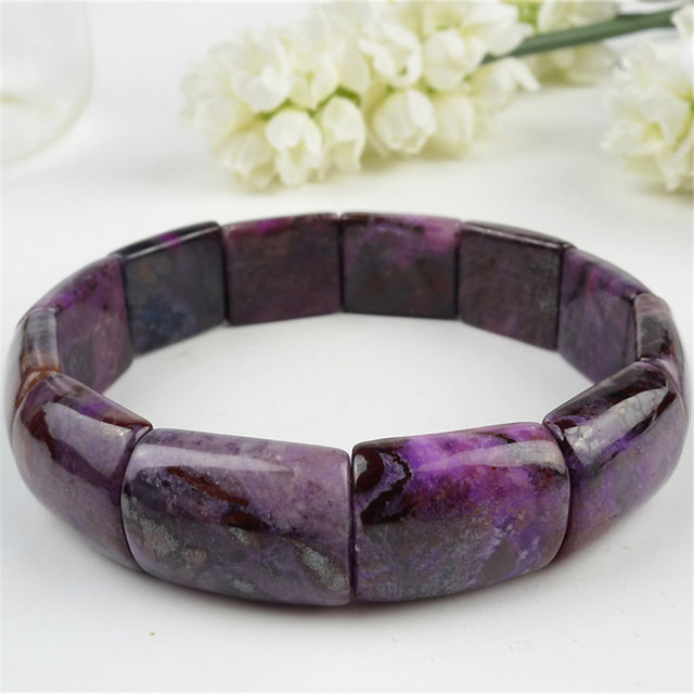 18*15*7mm Rectangle Beads Fashion Stretch Bracelet For Women South African Genuine Natural Purple Sugilite Charm Bangle Bracelet