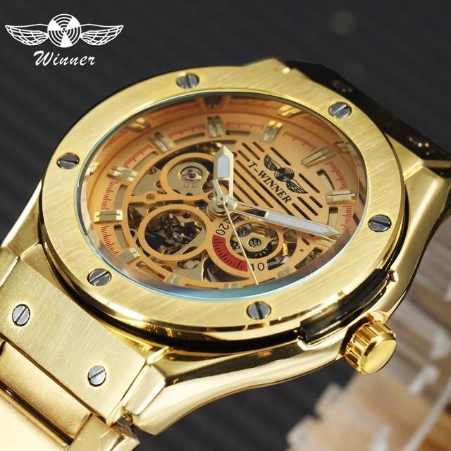 winner chic royal style men golden automatic mechanical watch 3d