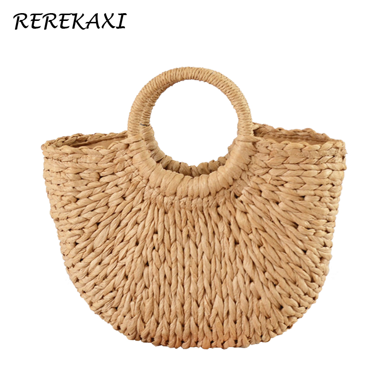 REREKAXI New Handmade Moon-shaped Women's Handbag Summer Woven Beach Bag Fashion Ladies Straw Bags Travel Shopping Tote(China)