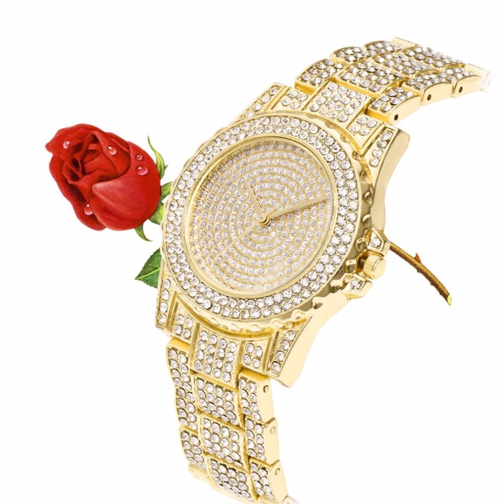 Women Watch Rhinestone Watches Bracelet Luxury Waterproof Quartz Ladies Rose Gold Watch With Stainless Steel 2019