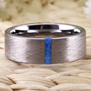 Image 4 - クラシック結婚指輪男性の女性のファッション婚約指輪オパール石でブラッシング周年記念ブライダルジュエリー