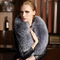 ZDFURS *Natural Color  Genuine Sliver Fox Real Fur Collar Scarf  Big Size Warp Shawl Neck Warmer Stole Muffler  ZDC-163004