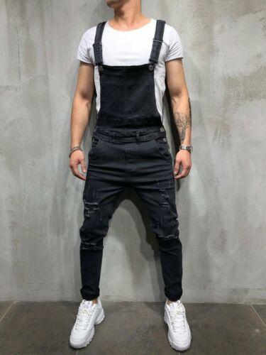 Men's Distressed Denim Carpenter Overalls Bib Jumpsuits Moto Biker Jean Pants 5