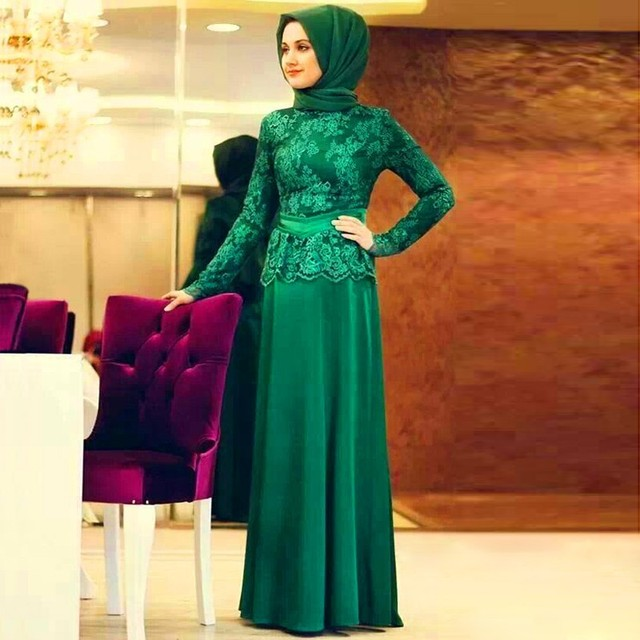 Robe De Soriee New Simple Wedding Dress Full Sleeve Lace: Green Champagne Formal Lace Long Sleeve Muslim Evening