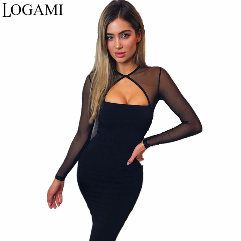 LOGAMI Net Sexy Dress Club Wear Long Sleeve Autumn Winter Bodycon Dress Party Dresses Black