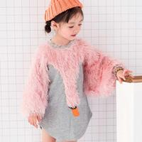 2018 Autumn Fashion Cartoon Kids Baby Girl Swan Batwing Sleeve Personality Patchwork Party Dresses