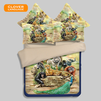 CLOVER LANGUAGE Student Bedding Set Baby Bedding Set 3d Tiger Cartoon Home Textiles 3D Fitted Sheet Bedclothes Pastoral 3/4pcs