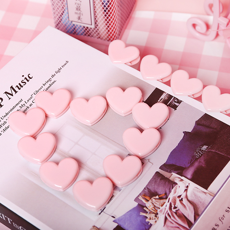 2 Pcs Cute Pink Mini Clip School Stationery Love Heart Binder Photo Clips Note Letter Paper Clip DIY Decoration Office Supplies