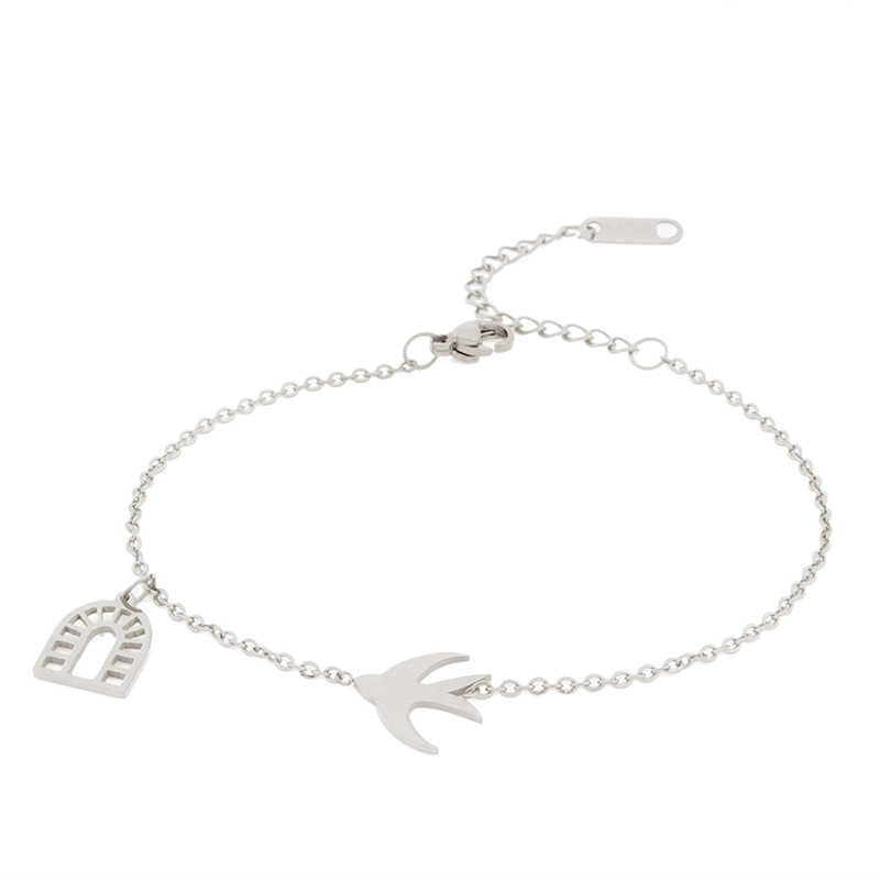 Bangles bracelets for women accessories stainless steel charm bracelet silver female femme charms braclet hand chain