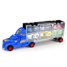 Children's Car Toy Portable Transport Container Truck Contains 6 Alloy Car Boy Car Toy Model(China)