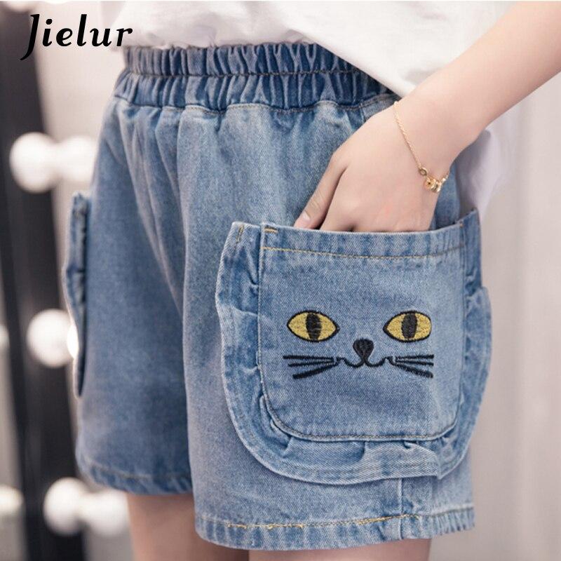 Jielur S-5XL Kawaii Embroidery Cat   Jeans   Woman Pocket Plus Size Wide Leg   Jeans   High Waist Summer Spodnie Damskie Jeansy Dropship