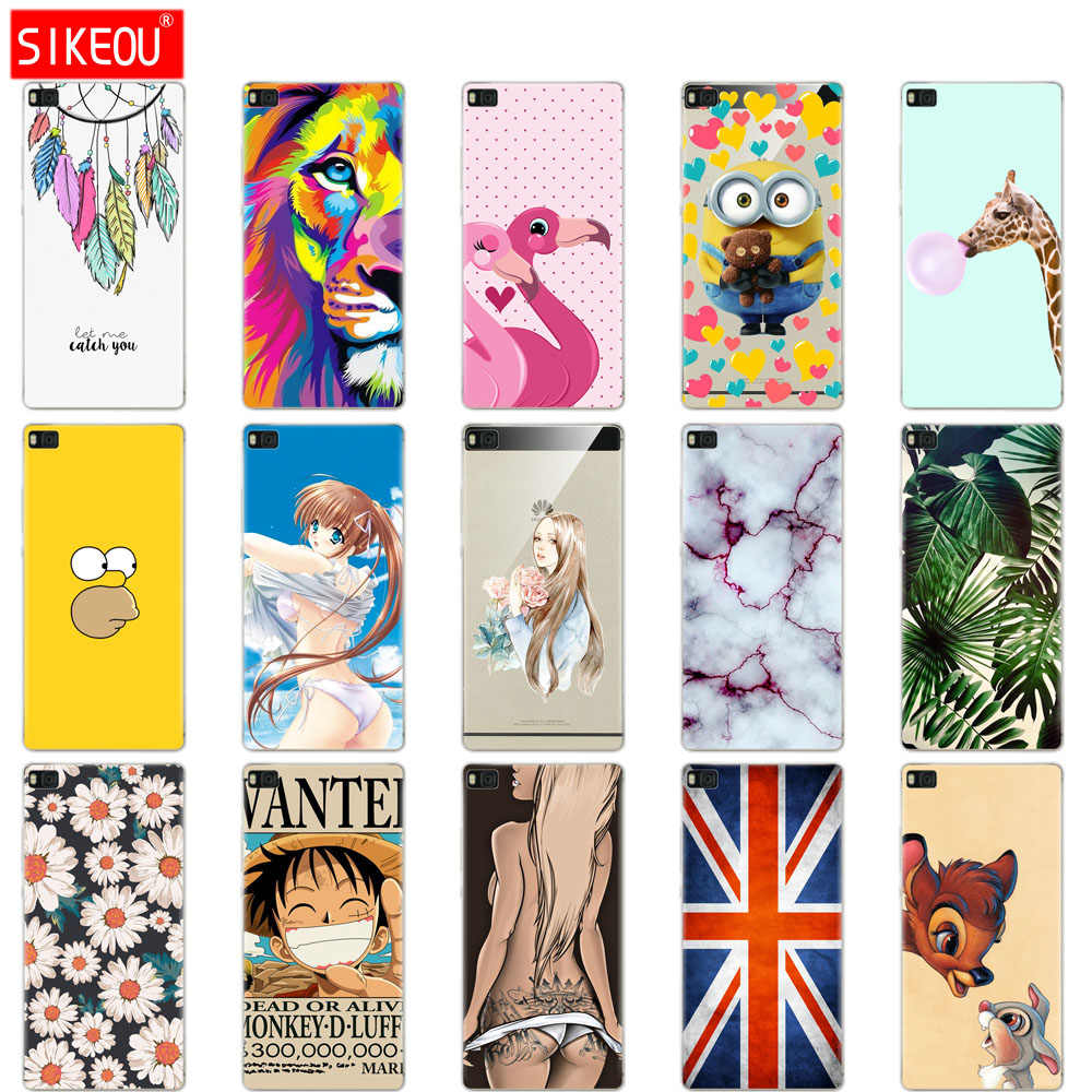 For P8 lite case Cute cartoon cover for fundas Huawei P8 lite case 2015 2016 silicone soft coque for Huawei P8 lite simple green