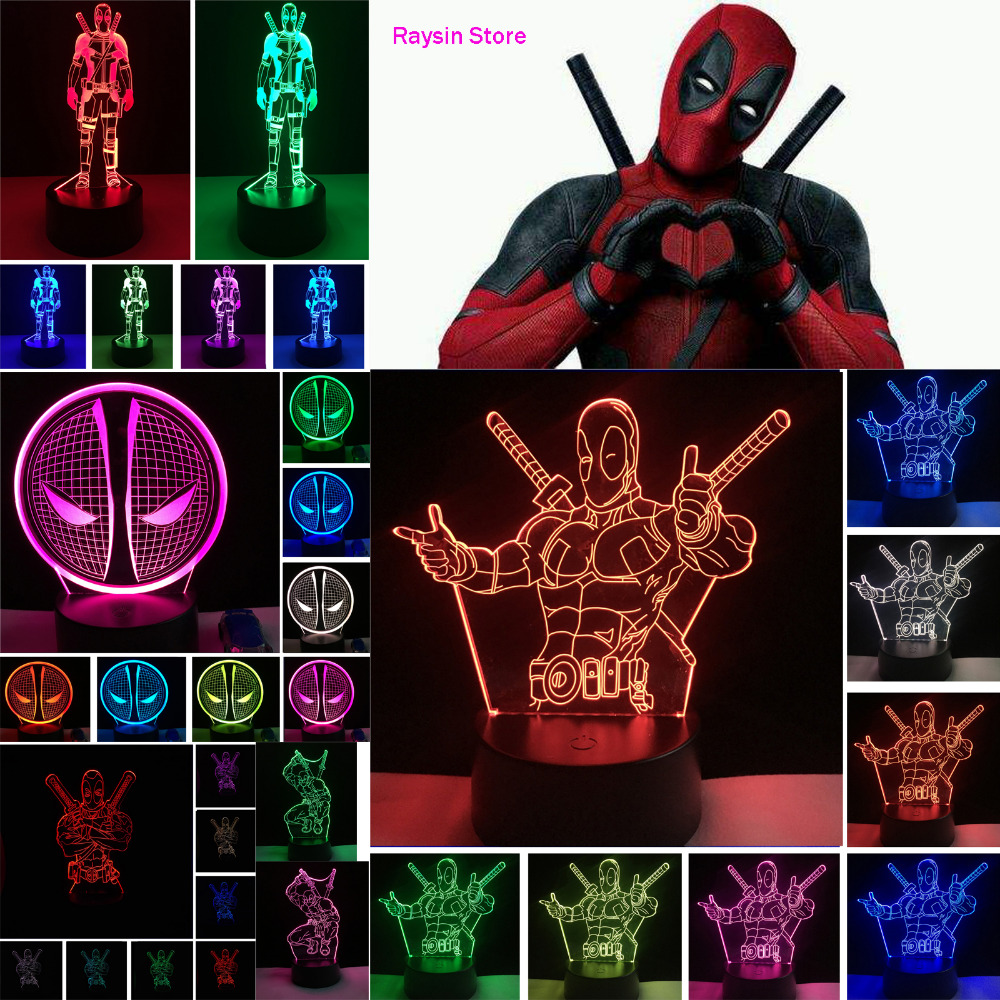 Amroe 2019 Hot Movie Figure Marvel Anti Hero Deadpool Action Figure 7 Color Change Mood Night Light Man Boys Bedroom Decor Gifts