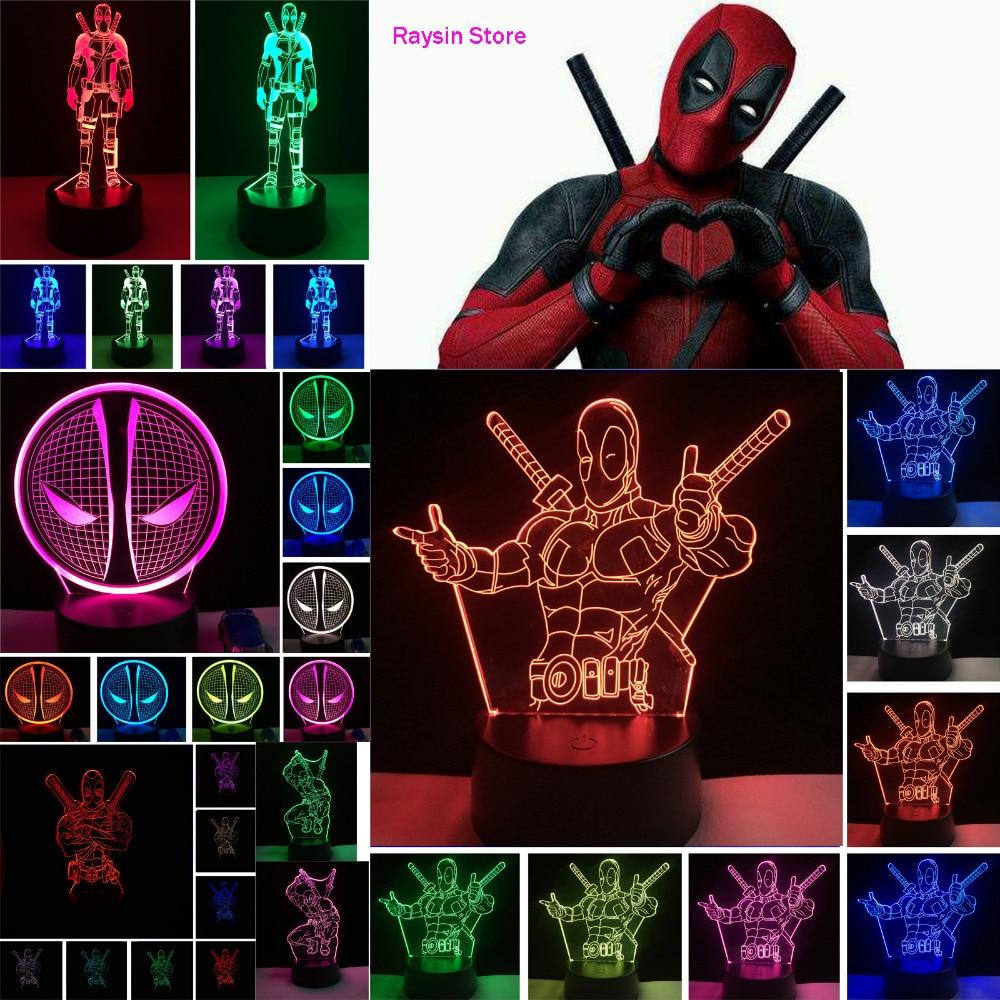 Amroe 2019 Hot Movie Figure Marvel Anti Hero Deadpool Action Figure 7 Color Change Mood Night Light Man Boys Bedroom Decor Gifts