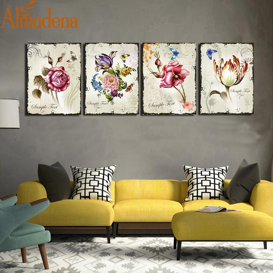 Almudena 4 Pieces Classic Floral Canvas Prints Flower Art