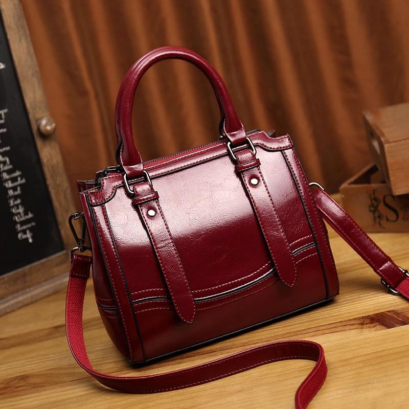 Women Messenger Shoulder Top Handle Genuine Leather Bags High Quality Vintage Luxury Ladies Tote Purse Handbags T49 Сумка