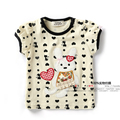 New 2015 summer style children t shirts baby girls clothes infant short sleeves Cartoon rabbit t-shirt pullover kids tee tops