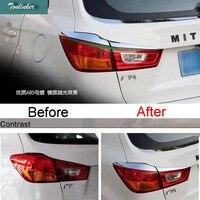 Tonlinker 2-4 PZ Auto FAI DA TE NUOVO ABS Cromato Anteriore e Caso Della Copertura posteriore Del Faro Light Box Adesivi per Mitsubishi ASX 2011-15