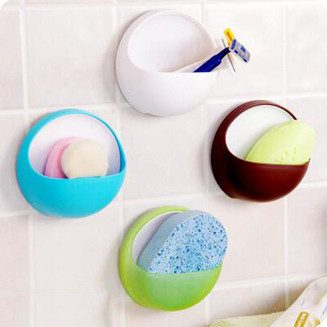 Dropship Plastic Suction Cup Soap Toothbrush Box Dish Holder Drain Rack Bathroom Shower Accessory bathroom accessories cute toe toothbrush holder with suction cup