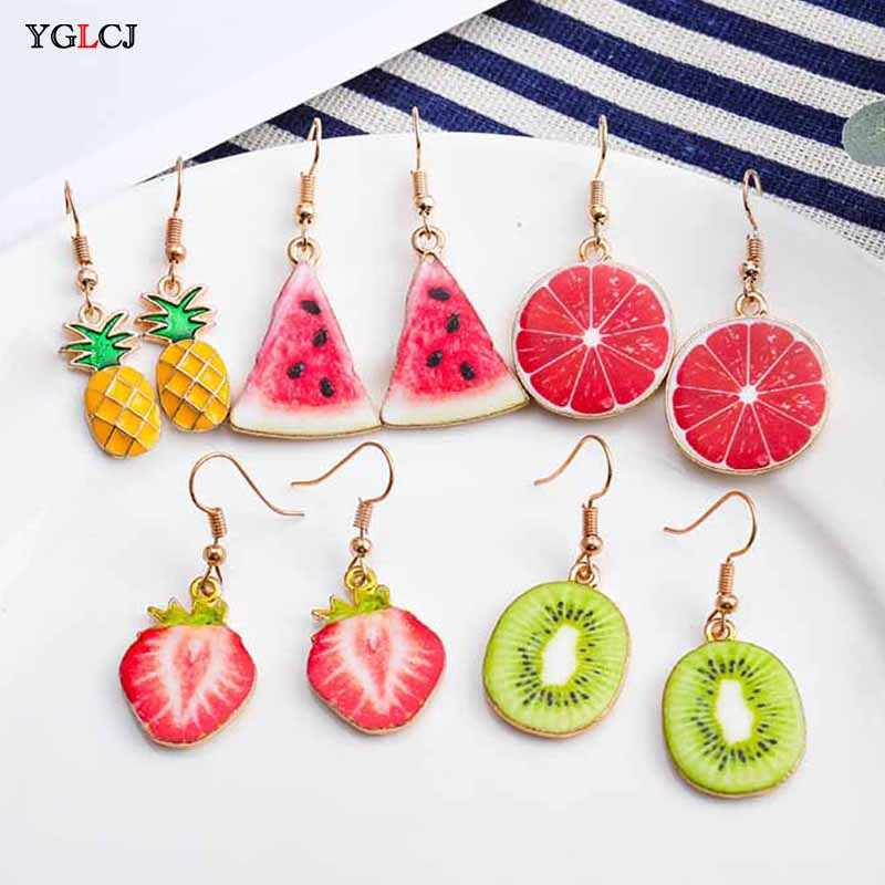 Korea Baru Cute Buah Wanita Anting-Anting Strawberry Pine Apple Tomat Kiwi Orange Mentimun Naga Apple Pine Apple Gadis Buah Anting-Anting