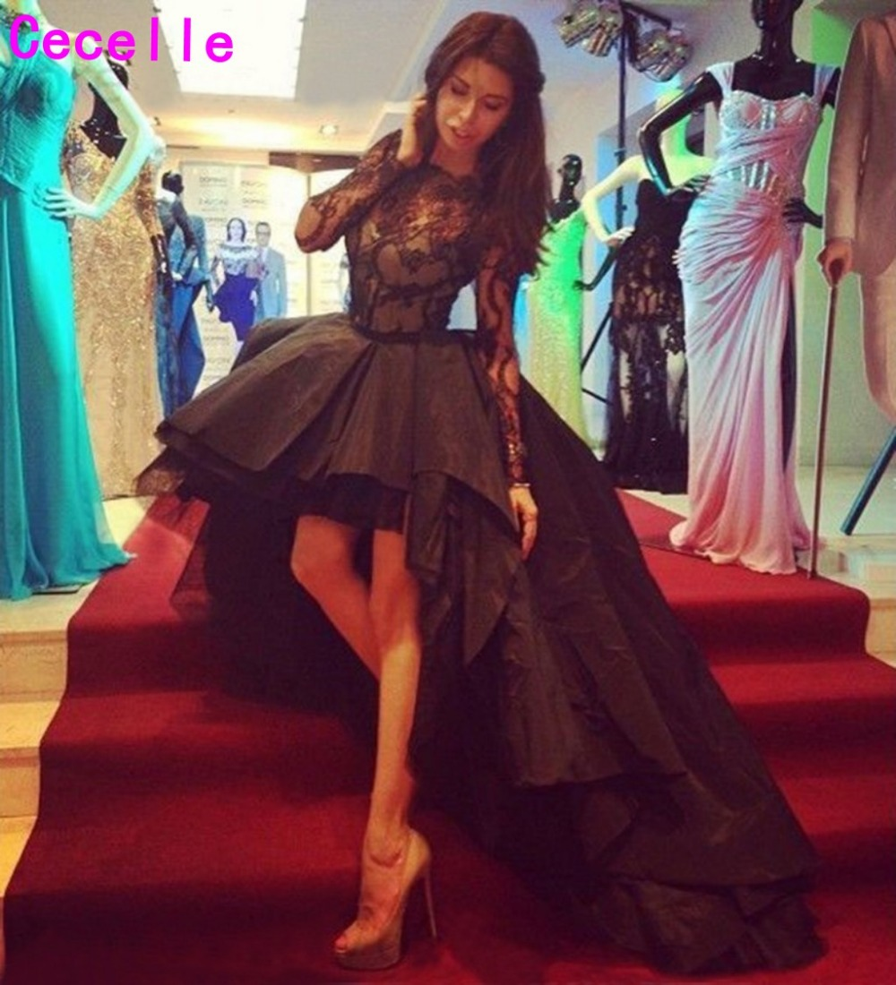 2019 Puffy High Low Black   Prom     Dresses   With Long Sleeves Sheer Illusion Neck Sleeved Short Front Long Back   Prom   Party Gowns