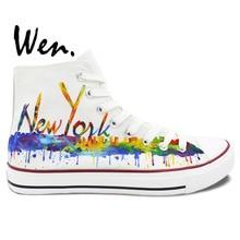Wen Original Hand Painted Shoes Custom Design Casual Shoes New York City Skyline Women Men's High Top Canvas Shoes