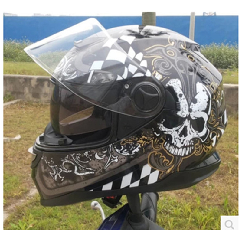 2015 new full-face helmet run double lens helmet motorcycle helmet stunning color skull  ...