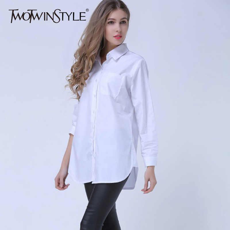 4XL TWOTWINSTYLE פסים שרוול ארוך בתוספת גודל צמרות חולצות חולצות של נשים לא סדירות דש אופנה בגדי חולצה נשית מזדמן