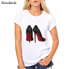 Zoubuk 2018 harajuku Flower Perfume t-shirt woman cotton short sleeves Casual female